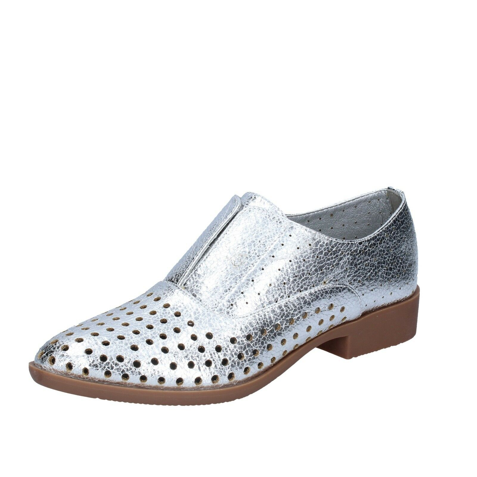 Womens shoes FRANCESCO MILANO 5 (EU (EU (EU 38) elegant silver leather BS73-38 b6b833