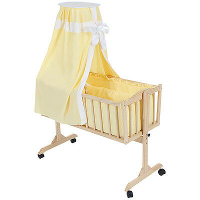 Baby Swinging Crib Rocking Cradle cot bassinet bed wood + roof yellow