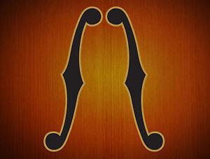 F-Hole-Guitar-Sticker-Standard-Set-Left-amp-Right-Decals-Black-amp-Gold