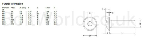 M10 10mm ad alta resistenza FLANGIATA pulsante Testa Allen Bulloni Socket VITI BW
