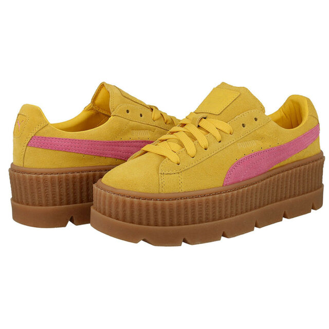 PUMA Fenty X Rihanna Cleated Creeper Shoes Ladies Yellow Pink Trainers 366268 03