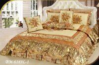 Dada Bedding Royal Romantic Puffy Floral Shiny Gold Tan Bedspread Comforter Set