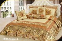 Dada Bedding Royal Romantic Puffy Floral Shiny Gold Tan Bedspread Comforter Set