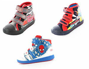 Boys-Cars-Fireman-Sam-Spiderman-Hi-Top-Shoes-Trainers-Toddler-Children-UK-5-1