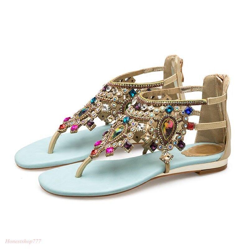Zapatos para mujeres Ojotas Ojotas Ojotas Playa Casual del Rhinestone Bohemia Romanos Sandalia Zapatos sin Taco  punto de venta