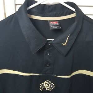 ac375333 Details about Colorado University CU Mens Black Gold Buffalo Logo Nike Team  XL Polo Shirt