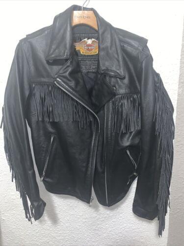 Harley Davidson  Fringed Women's Black Leather Jac