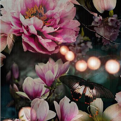 Momoka Bright Coloured Floral Butterfly Wallpaper - Dark Background