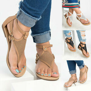 Women-039-s-Ladies-Casual-Rome-Solid-Hollow-Out-Open-Toe-Zipper-Sandals-Flat-Shoes