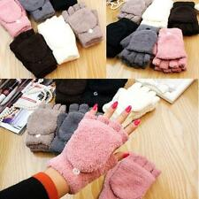 Fashion Unisex Women Pink Knitted  Fingerless Winter Gloves Soft Warm Mittens
