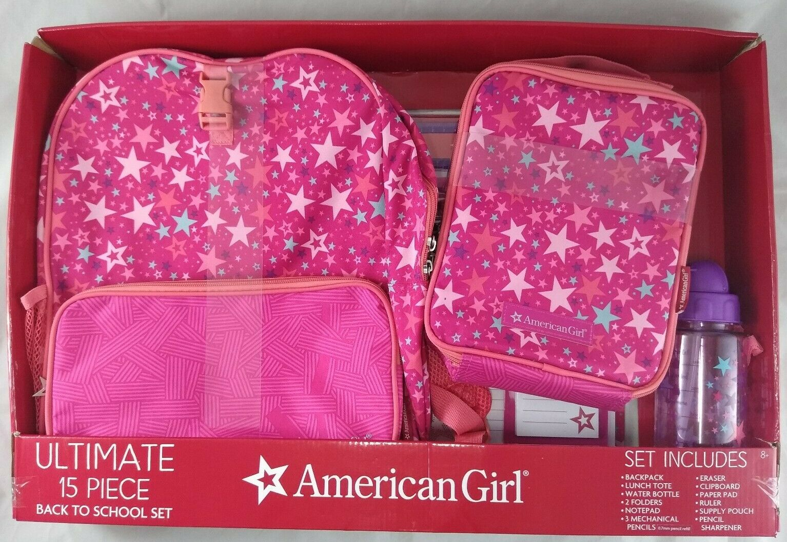 Girl Back to School Set Pink and Purple Backpack MInt Lunchbox Pink and purple pencil Case Girls Backpack Monogram Backpack Set