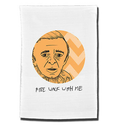 FIRE WALK With Me tea towel. Inspired by the cult TV series Twin Peaks