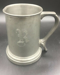 Vintage-Silver-PEWTER-Beer-STEIN-Glass-Bottom-R-Monogrammed-MUG
