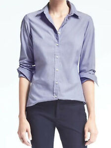 NWT-Banana-Republic-New-68-Women-Riley-Tailored-Fit-Solid-Shirt-Size-0-2-4-8