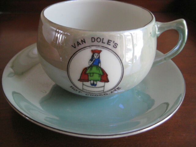 VINTAGE CUP AND SAUCER  VAN DOLE'S HOT CHOCOLATE  RARE ADVERTISING c1930's