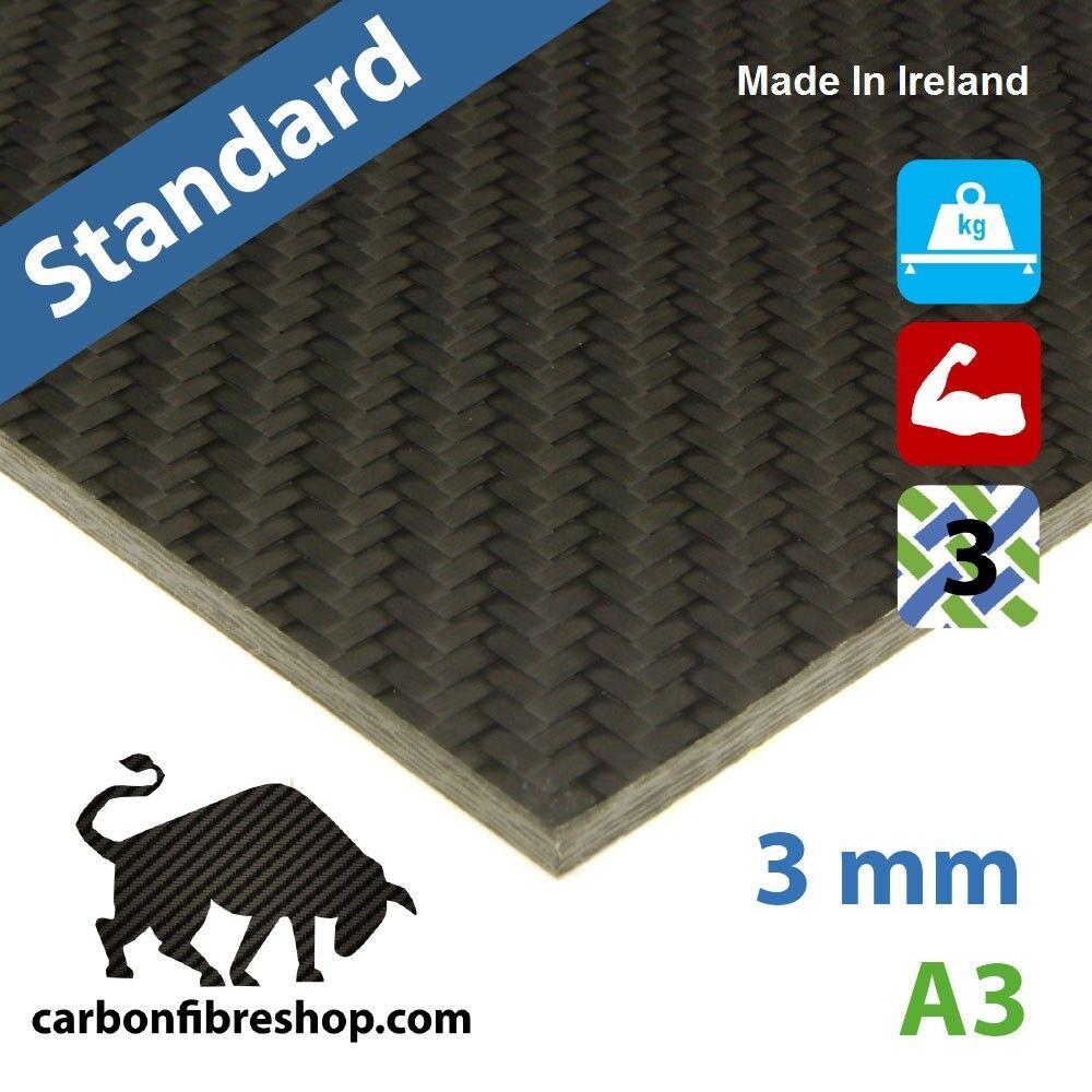 STANDARD Single-Sided Gloss Real Carbon Fibre Sheet 3 mm A3 (297 x 420 mm)