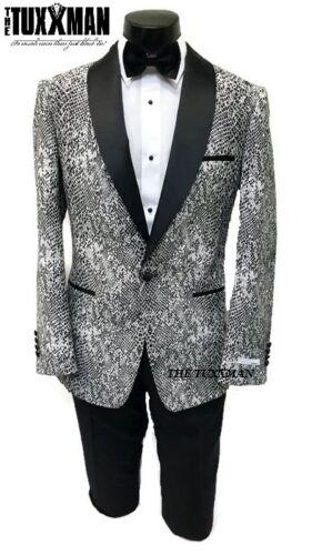 New Tuxedo Black /& White Snake Skin Jacket Formal Men/'s Slim Fit TUXXMAN PROM