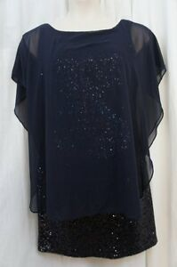 433099e94b25 Betsy & Adam Dress Petite Sz 6P Navy Blue Sequin Chiffon Evening ...
