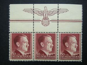 Germany-Nazi-1942-Stamp-MNH-Adolf-Hitler-53rd-birthday-Swastika-Eagle-Generalgou