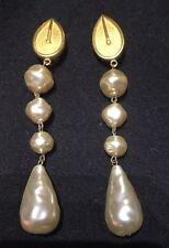 Karl Largerfeld of Chanel 1980's Large  Clip On Goldstone & Faux Pearl Earrings