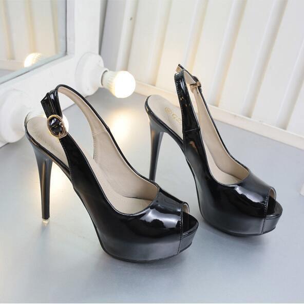 Sandale stiletto decolte 12 cm nero cipria plateau simil pelle eleganti 9944
