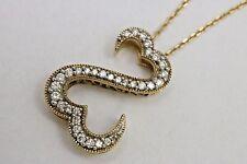 "Open Hearts 14K Yellow Gold & Diamond Pendant Jane Seymour 18-20"" Necklace 585"