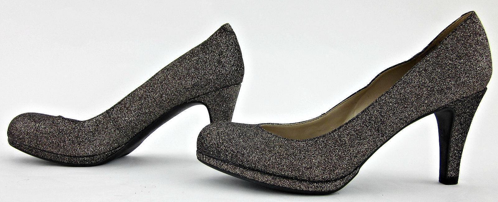 NEW  Naturalizer 'Lennox' Round Toe Dress 6B Pumps Platinum Glitter Leather 6B Dress 8b57cf