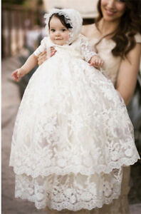 279bb6ba3 Vintage White Ivory Baby Girls Christening Gown Lace Short Sleeve ...