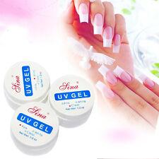 3 Stück Nail Art UV Gel Set Farbgel Effekt Gele Nagel Fingernägel klar Weiß Rosa