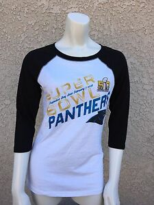 Carolina Panthers Super Bowl 50 Women s Baseball Tee 1 2 sleeve ... da6d7226a
