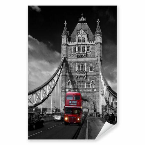 Postereck 0121 Poster Leinwand Roter Bus Tower Bridge London England GB
