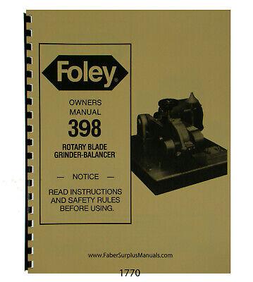 Foley Belsaw 398 Rotary Blade Grinder Balancer Operator Parts Manual 1770 EBay