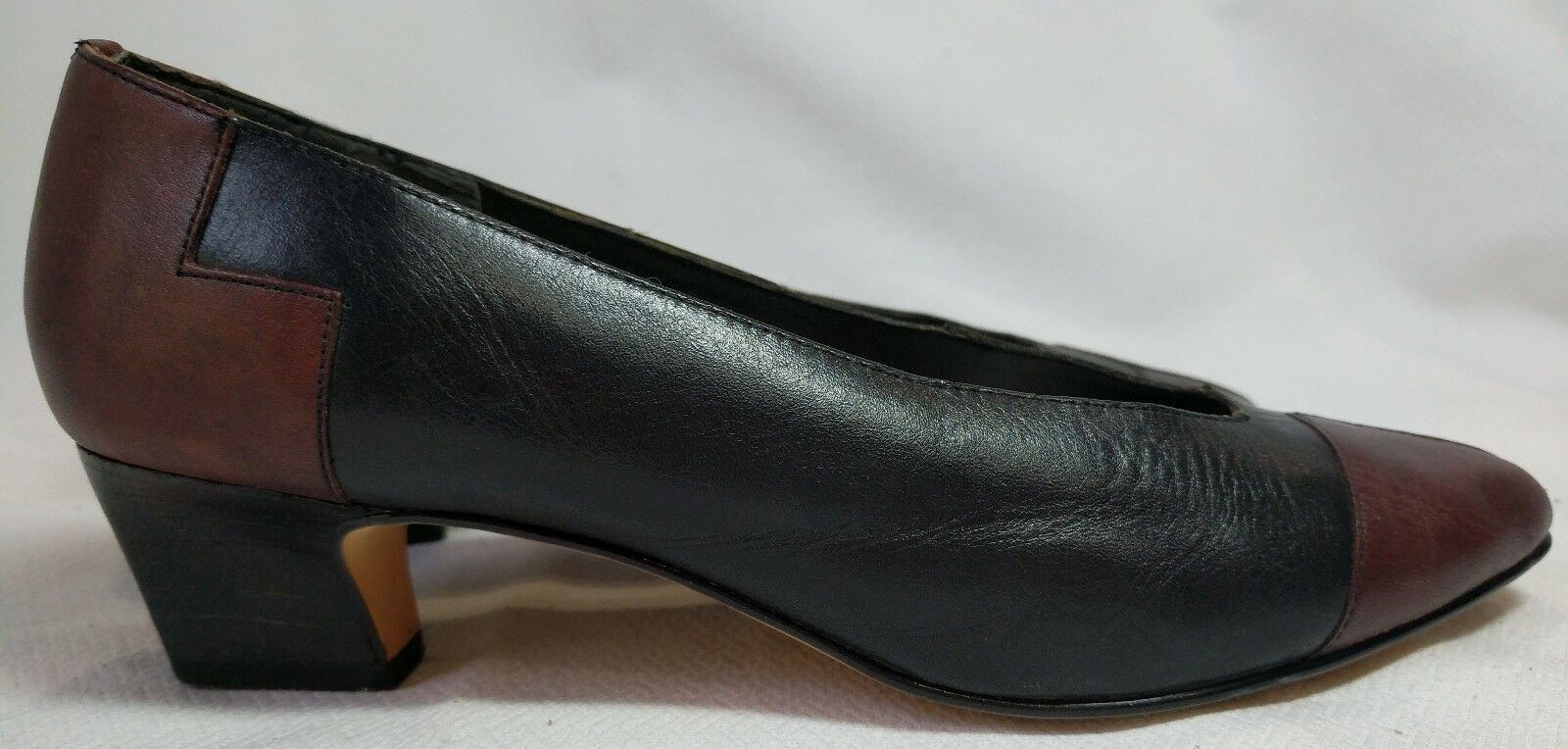 Patchwork Leather 7M Toes Connie Sellecca Size 7M Leather 8991 Black Brown Pumps Brazil bcc2f0