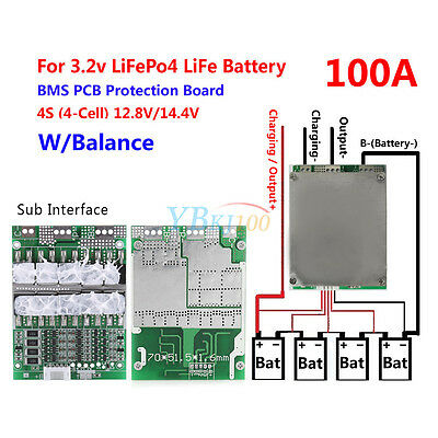 4S 100A W/Balance BMS Protection PCB Board For LiFePo4 LiFe 18650 Battery Cell