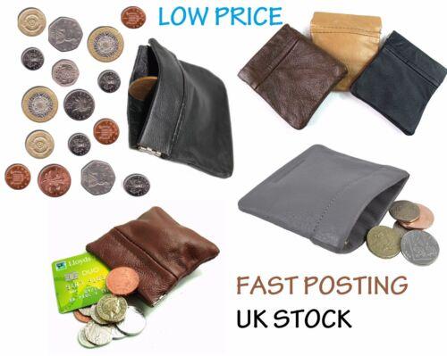 Coin money bag purse wallet pouch soft leather metal spring For men ladies sprgC