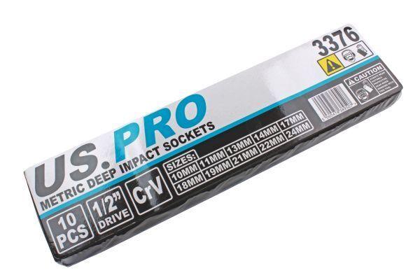 24mm 3376 US PRO 10pc 1//2 Drive Deep Metric 6 Sided Impact Sockets 10mm