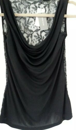 River Island Size 10 Black Lace Back Top NEW WITH TAGS