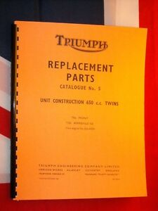 1969 Parts Manual Fits Triumph T120 Bonneville TR6c Trophy TR6r Tiger 650cc Twin