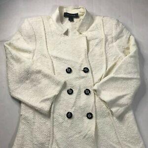St.John Evening White Ivory Knit Jacket Peacoat Soft Sz 6