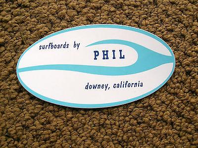 Vintage phil surfer surfing sticker decal surfboard longboard movie stars surf