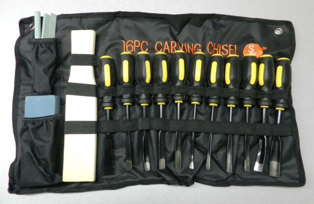 16 Piece Wood Carving Set Chisels Woodworking Hand Tool Kit in Cloth Pouch 16 pc