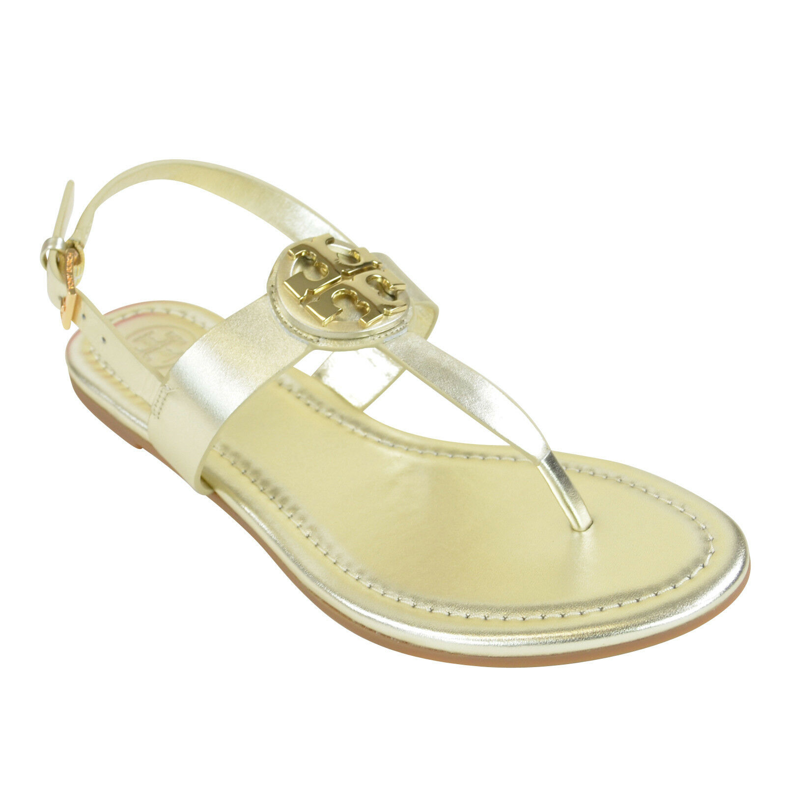 Tory Burch Bryce Flate Thong Sandal/ Vegan Leather in Spark Gold 7.5