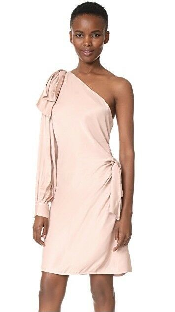 ZimmerhomHommes Maples Bow Mini Robe   bleush rose Nude   One Shoulder Mini  1,000 RP