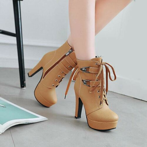 Women/'s Round Toes Platform Lace Up Buckle Strap Riding Ankle Boots Chic Shoes