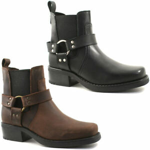 Gringos Low Harley Cowboy Western Mens Leather Gusset Heeled Ankle Boots UK6-12