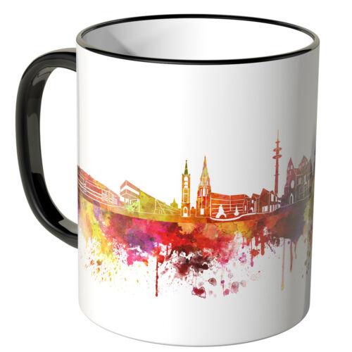 """Schriftzug /""""Guten Morgen Gelsenkirchen!/"""" mit Skyline ver Farb. WANDKINGS Tasse"""