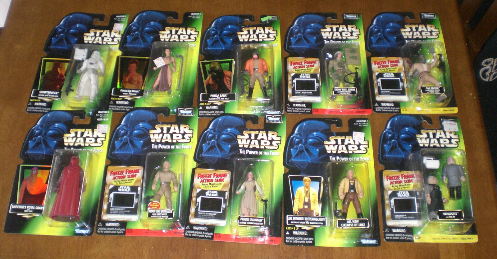 10 STAR WARS POWER OF THE FORCE ACTION FIGURES LEIA PONDA BABA SNOWTROOPER LUKE