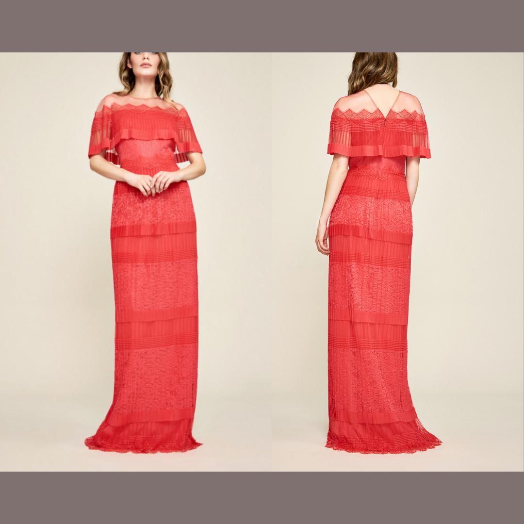 Nuevo  508 Tadashi  Shoji Tristan Plisado De Encaje Rojo Vestido de [tamaño 6]  E480  más orden