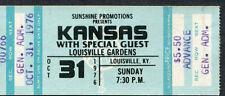 1976 Kansas Unused Concert Ticket Louisville Leftoverture Carry On Wayward Son
