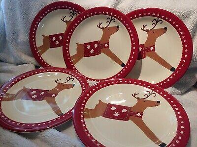 5 Pottery Barn Kids Reindeer Plates Ebay